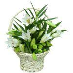 5 лилий 4 хризантемы сантини