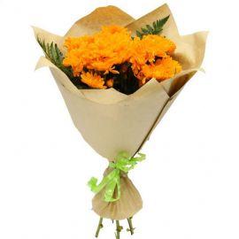 5 кустовых хризантем оранжевых