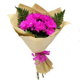5 хризантем кустовых розовых