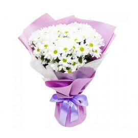 7 кустовых хризантем белых