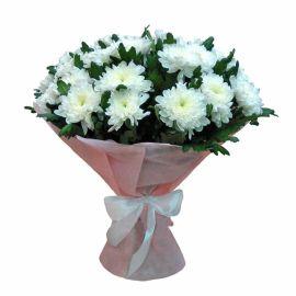 19 хризантем игольчатых белых