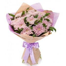13 хризантем игольчатых розовых