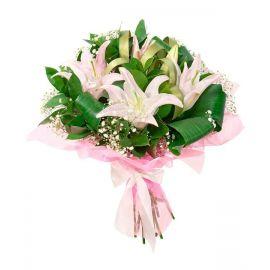 7 лилий розовых