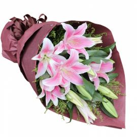 9 лилий розовых