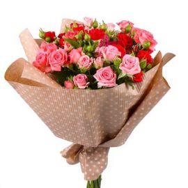 9 кустовых роз микс