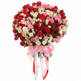 51 кустовая роза микс