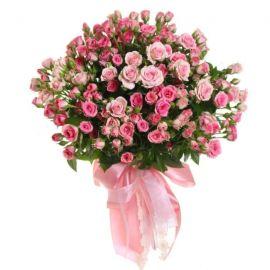 35 кустовых роз розовых