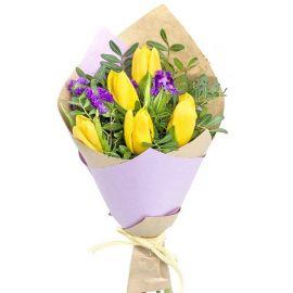 5 тюльпанов желтых