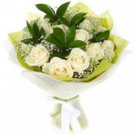 9 роз белых