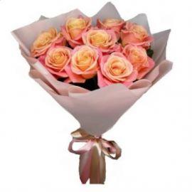 9 роз персиковых роз