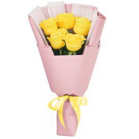 5 роз желтых