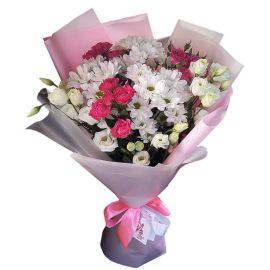 3 розы кустовые 3 хризантемы кустовые 3 эустомы