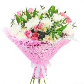 5 альстромерий 5 хризантем кустовых 3 кустовые розы