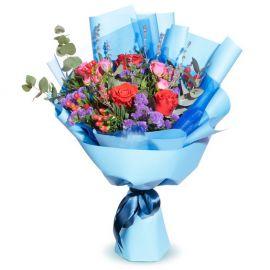 5 роз 3 розы кустовые статица