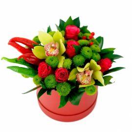 5 роз 3 хризантемы сантини 2 орхидеи