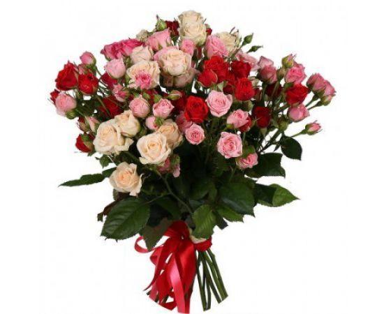 17 кустовых роз микс