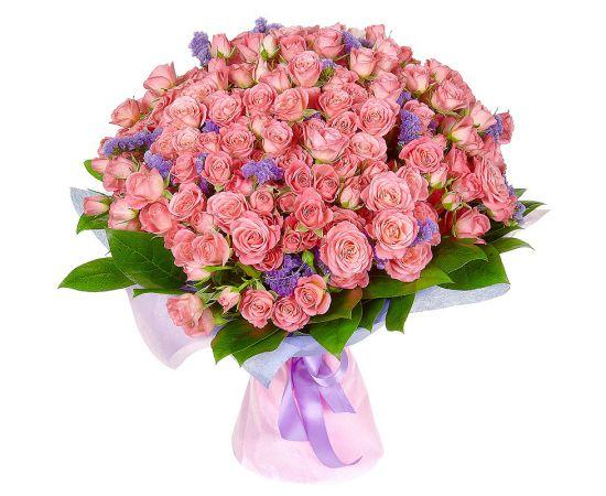 51 кустовая роза розовая статица